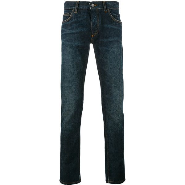 Dolce & Gabbana Slim-Fit Jeans ($455) ❤ liked on Polyvore featuring men's fashion, men's clothing, men's jeans, ink, mens button fly jeans, dolce gabbana mens jeans, mens leather jeans, mens zipper jeans and mens straight leg jeans