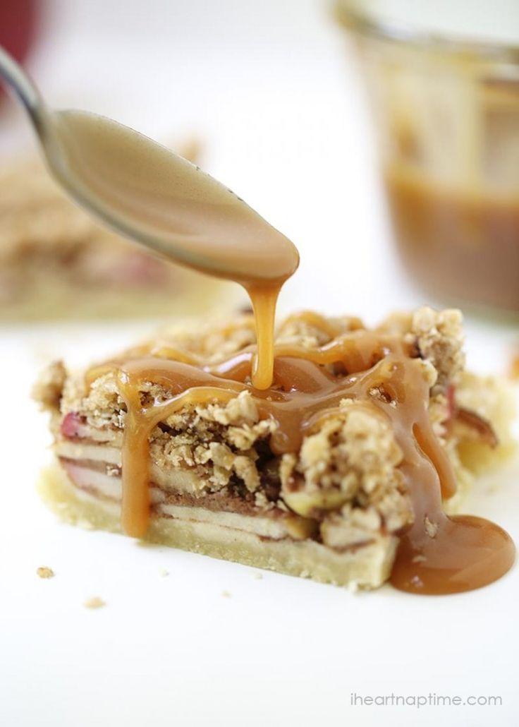 Karamell-Apfelkuchen-Riegel   – Desserts, confiseries etc…