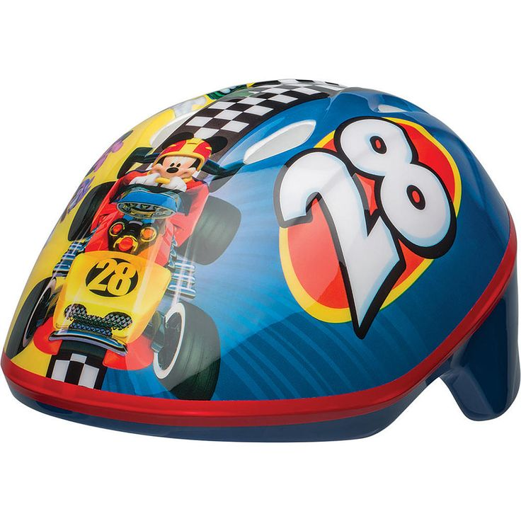 Mickey Mouse Roadsters Toddler Bike Helmet, Fits ages 3-5 years, head sizes 48-52 centimeter. Take Mickey and friends along on your next cycling adventure!  This helmet features Bell Sports' True Fit one-step fit system, integrated reflectors for increased visibility, and 4 vents to keep young heads cool.<br><br>The Bell Sports Mickey Mouse Roadsters Toddler Bike Helmet Features:<br><ul><li>CPSC 1203 Bike Compliant</li><br><li>Pinch Gua...