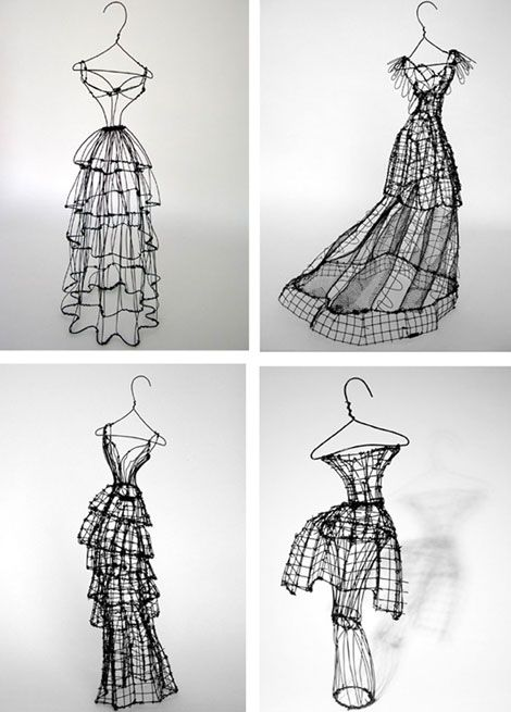 Dramatic 3D Fashion sketches in wire. Each one-of-a-kind scuplture has its own name inspired by the distinct personality of the dress.  Very beautiful work Miss Leigh!!  www.leighpennebaker.com