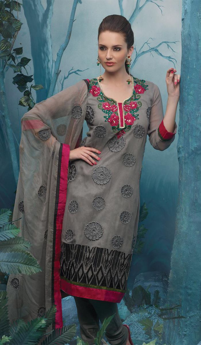 Ash Grey Cotton Indian Embroidered Casual Wear Salwar Kameez