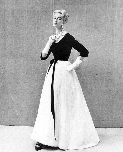 Black and white evening gown by Pierre Balmain, French, 1957.