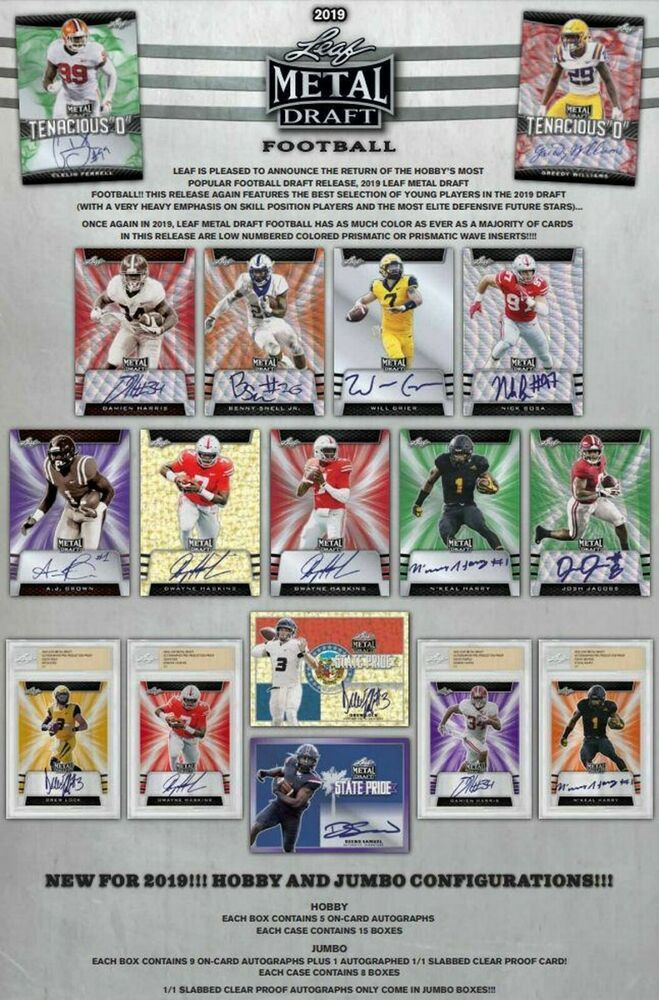 2019 Leaf Metal Draft Football Hobby Box Pre Order 5 On Card Autos