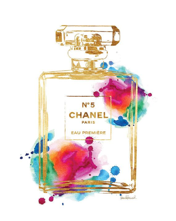 Size choice Printed Poster Chanel No 5 Rainbow with by hellomrmoon