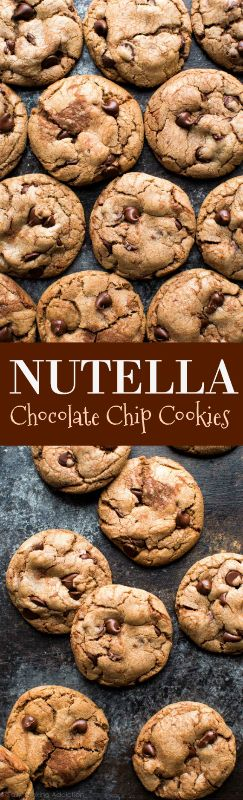 Soft and chewy chocolate chip cookies with Nutella! No dough chilling, easy and quick cookie recipe on sallysbakingaddiction.com