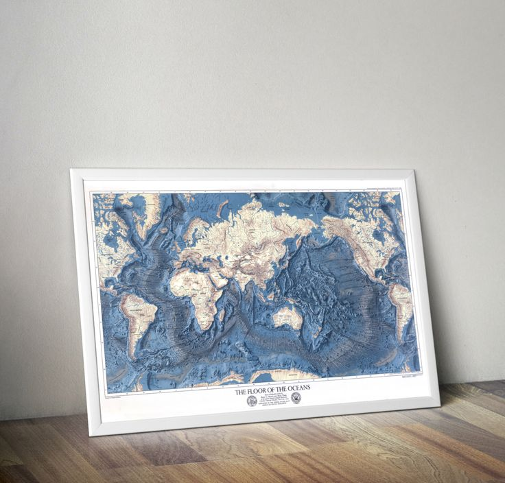 World Map - Ocean Floors and Land Relief | Map of the Ocean | Map of the World | Vintage Map Reprint | Ocean Floor Map by SuperiorCraftCompany on Etsy https://www.etsy.com/listing/241348309/world-map-ocean-floors-and-land-relief