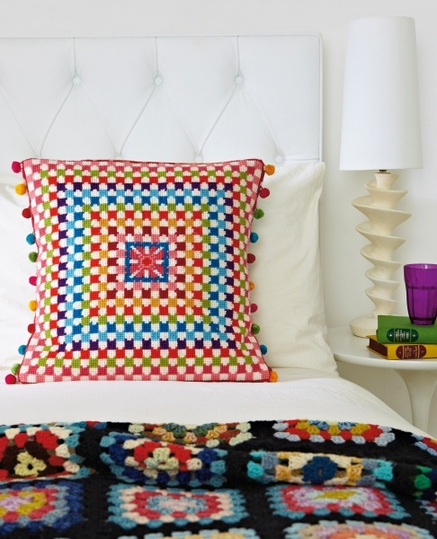 Granny Square Cushion, designed by Jacqui Pearce, from Pearce's book Supersize Stitches, and featured in CossStitcher, Christmas 2012, Issue 257.