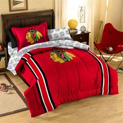 Chicago blackhawks 5 piece twin size bedding set hockey for Chicago blackhawk bedroom ideas