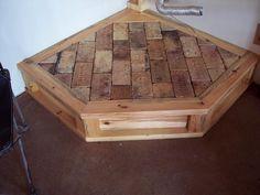 Wood and brick hearth