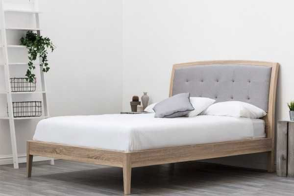 Frodsham Modern Grey Headboard Solid Wooden Bed Frame Double