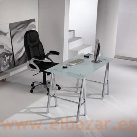 Mesa escritorio oficina impe cristal traslucido patas for Mesa cristal oficina