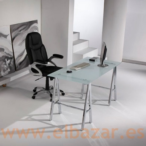 Mesa escritorio oficina impe cristal traslucido patas for Muebles oficina cristal