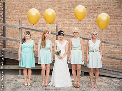 Beautiful Mint bridesmaid dresses and gold balloons for fun photos An Event Less Ordinary Chicago Illinois