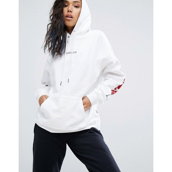 Wasted Paris Oversized Skate Hoodie With Rose Print Arms ($62) ❤ liked on Polyvore featuring tops, hoodies, white, print hoodies, print hoodie, rose print top, tall hoodies and sweatshirt hoodies