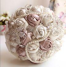 Em Ações Lindo Buquê de Casamento De Cristal Frisado Marfim Rosa Sapphire Pérola Da Dama de Honra Flores Artificiais Bouquets de Noiva(China (Mainland))