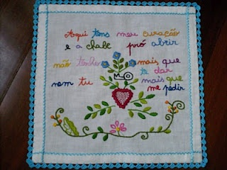 """Traditional Portuguese courtship handkerchief. """"Here you have my heart, and the key to open it. I don't have anything else to give, and you should not have anything else to ask""""."""