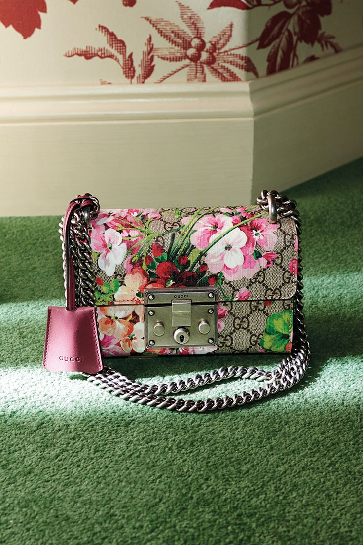 Naturally beautiful presents: the Blooms Padlock bag, a structured shape in signature Gucci motif cast with a rose-tinted geranium print.