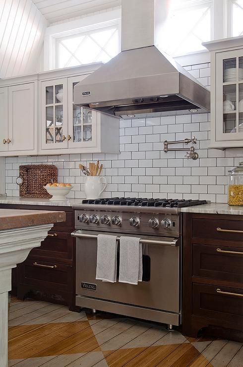 Beautiful Kitchen Features Light Grey Upper Cabinets And