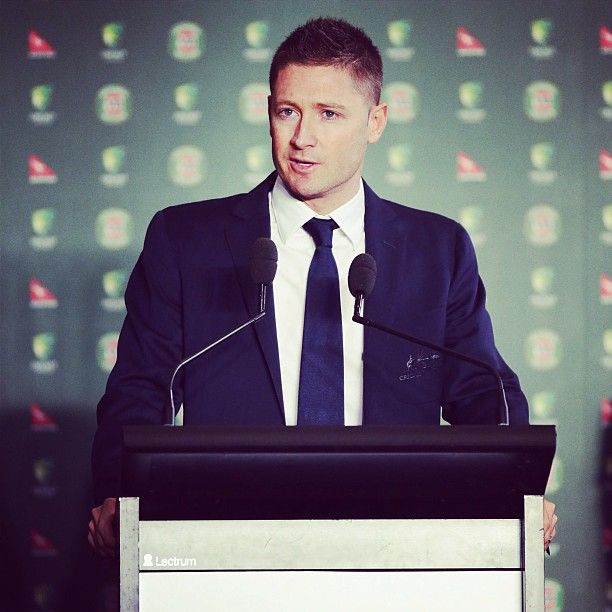 Michael Clarke fronts the press during Australia's official #Ashes team farewell in Sydney #Pup #Cricket