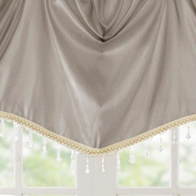 Jla Home Eila Faux Silk Beaded Trim Imperial Valance Pewter (Silver)