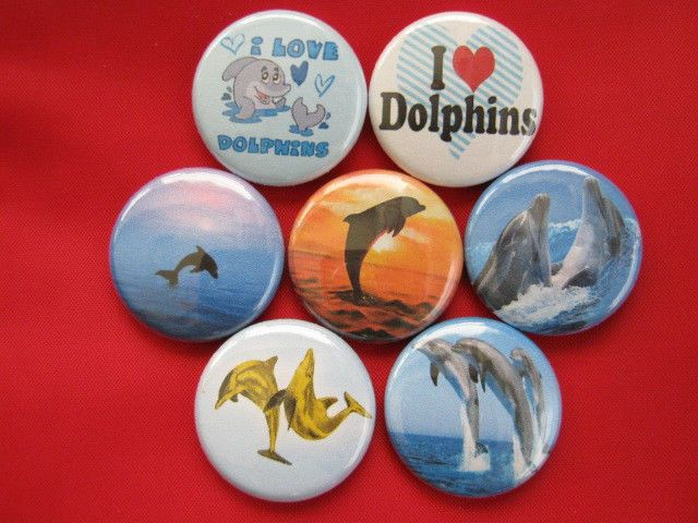 Dolphins, I Love Dolphins  NEW Set of 7 Select-a-Size of Pinback Buttons  #wtna