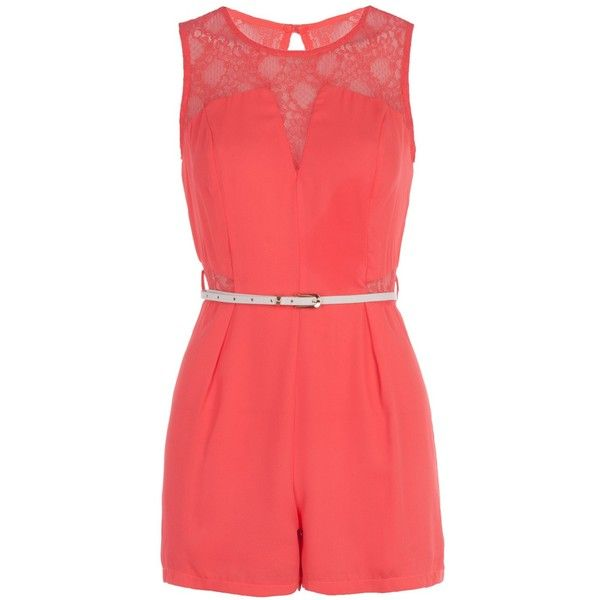 Coral Lace Detail Belted Playsuit ($29) ❤ liked on Polyvore featuring jumpsuits, rompers, dresses, playsuits, shorts, red jumpsuit, summer rompers, coral jumpsuit, summer romper and red jump suit