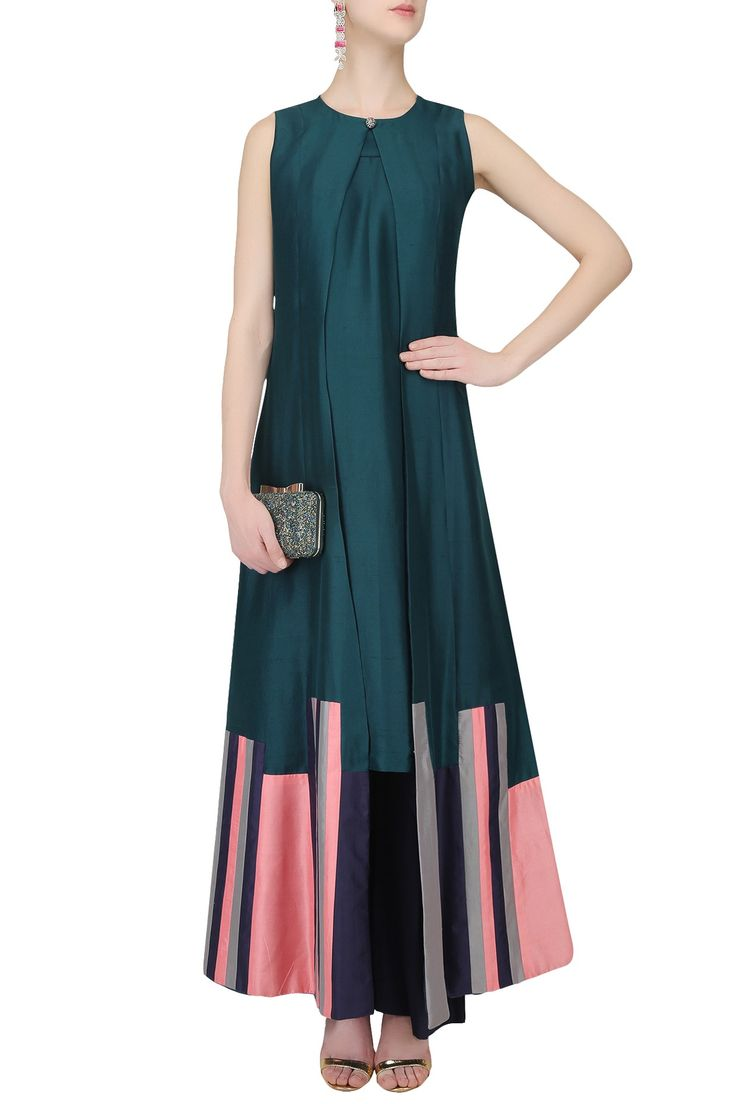 Teal green and navy stripe patched long kurta set available only at Pernia's Pop Up Shop.