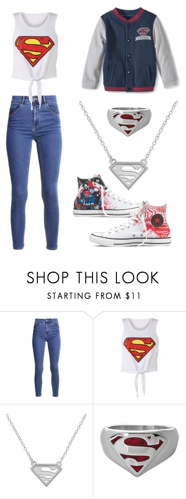 """Superman at School"" by helocosta on Polyvore featuring mode, DC Comics et Converse"