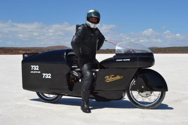 Stuart Hooper on his supercharged Velocette, which just recorded 171.6mph at Lake Gairdner, Australia