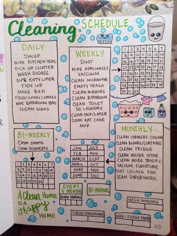 17 Bullet Journal-Reinigungsseiten und Layouts, die Ihnen beim Frühjahrsputz und darüber hinaus helfen