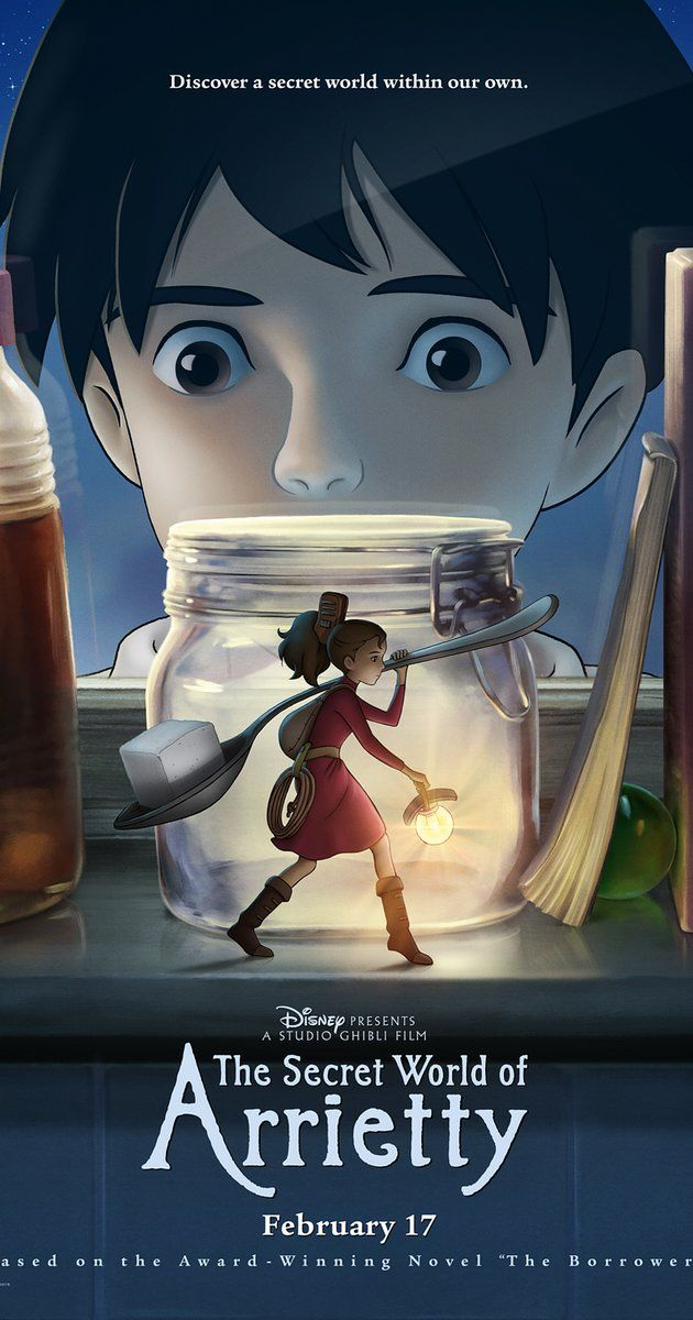 Directed by Hiromasa Yonebayashi.  With Bridgit Mendler, Amy Poehler, Will Arnett, Moises Arias. The Clock family are four-inch-tall people who live anonymously in another family's residence, borrowing simple items to make their home. Life changes for the Clocks when their daughter, Arrietty, is discovered.