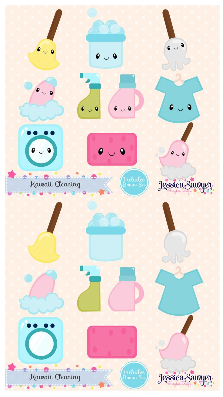 Kawaii Cleaning for planner stickers, crafts, and products