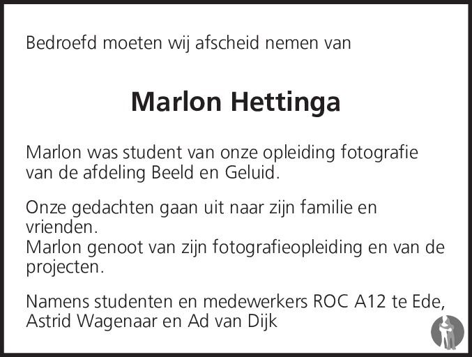 Marlon Hettinga overlijdensbericht en condoleances - Mensenlinq.nl