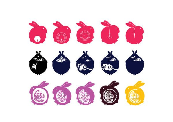 A series of coaster design for mid-autumn festival by Cheung Wing Yan, via Behance