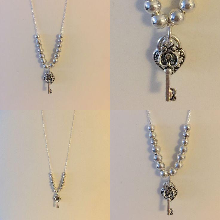 Gümüş toplardan oluşan kalbinizin anahtarı kolye ;) #gümüş #elyapımı# kolye #silver #necklace