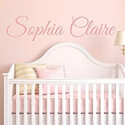 """Fancy Cursive Single Personalized Custom Name Vinyl Wall Art Decal Sticker 28"""" W, Girl Name Decal, Girls Name, Nursery Name, Girls Name Decor, Girls Bedroom Decor, PLUS FREE 12"""" WHITE HELLO DOOR DECAL"""