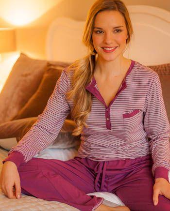 Nora-Rose by cyberjammies Yarndyed Stripe Knit Long Sleeve Pyjama Set
