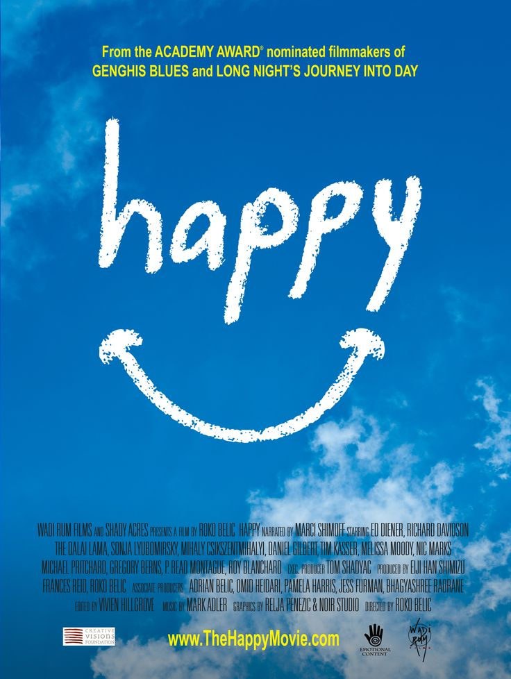 Happy. A 2011 documentary that explores what really makes people happy (and what doesn't). Interweaving the latest research from positive psychology and footage from 14 countries, it shows the importance of family and friends, physical activity, flow activities, novelty, cooperation, and helping others. Available for streaming on Netflix and Amazon.