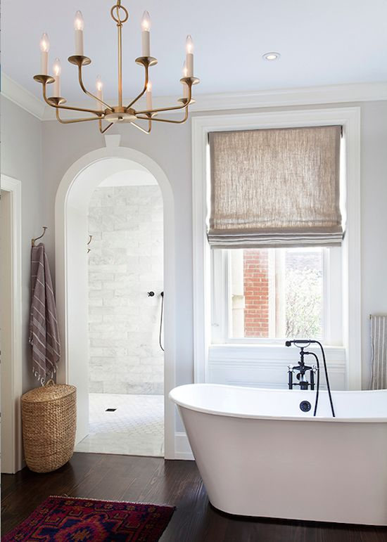 like the dark floor with all white with beige accent on window and towels... elegant and would match other tones in our house!!