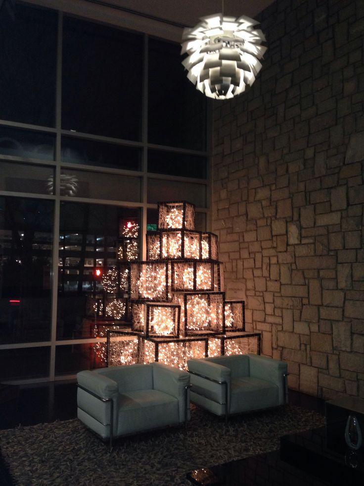 Modern Christmas Tree Lobby at Mid City Lofts Atlanta.