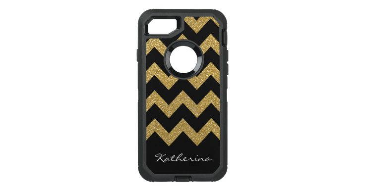 Gold Glitter Chevron Personalized with Name OtterBox Defender iPhone 7 Case: Gold Glitter Chevron Personalized with Name OtterBox Defender…