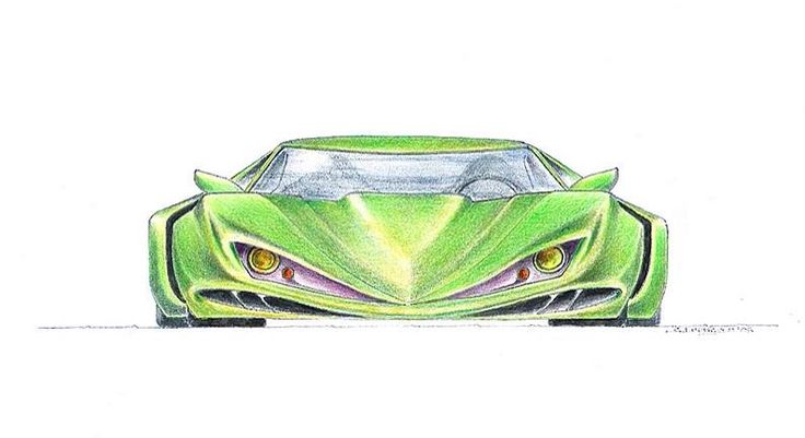Pure fantacy car drawing pencil and colourpencil