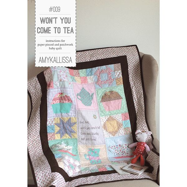 Won't You Come To Tea  Paper Piecing Sewing Pattern Available in PDF Download and Print