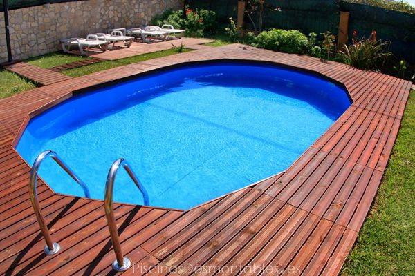 Espectacular piscina desmontable enterrada y con tarima de for Piscinas ovaladas desmontables