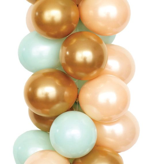 Balloon Bouquets  Gold Balloons Peach & Green by LuftBalloonStore