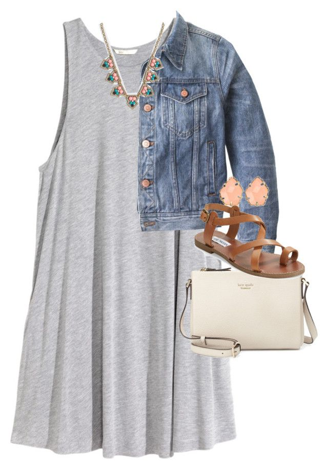"""""""the perfect way to style a jacket..."""" by preppy-southern-gals ❤ liked on Polyvore featuring H&M, J.Crew, Kate Spade, Steve Madden and Kendra Scott"""