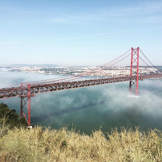 Fog dissipating under the Ponte 25 de Abril! This iconic suspension bridge in Lisbon is named after the day of the Carnation Revolution, which overthrew the dictatorship of Antonio de Oliveira Salazar. #notthegoldengate #ponte25deabril #visitlisbon #portuguesehistory #bridges #portuguesecommunity #liveluso