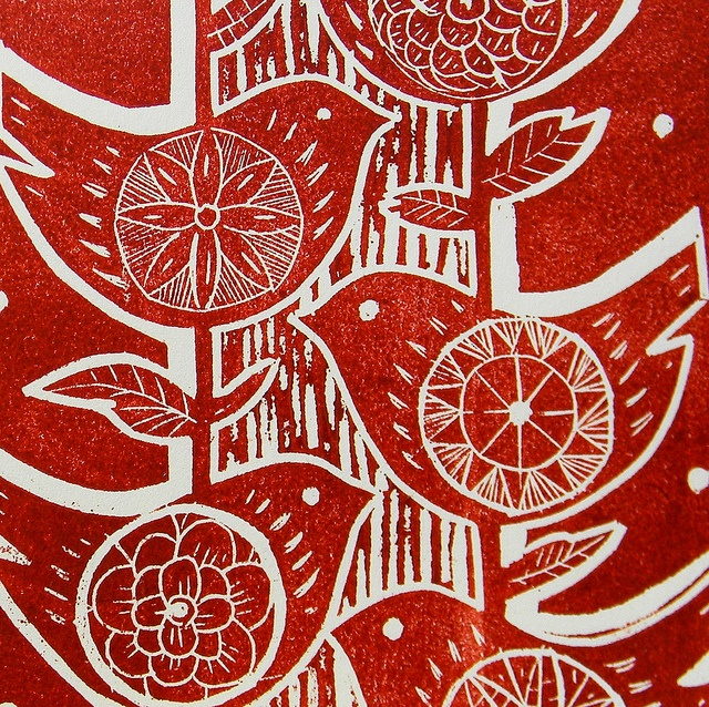 Five Birds Lino Print-red, detail by Mangle Prints, via Flickr