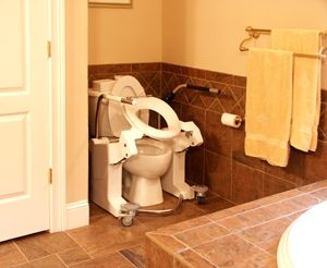 Bathroom    - Adjustable toilet seat with grab bar for transfer from wheelchair  - Tub has wide ledge for transfer into bath