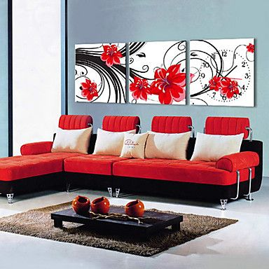 現代アートなモダン キャンバスアート 壁 壁掛け 時計  壁時計 赤い桜タイプ【納期】お取り寄せ2~3週間前後で発送予定【送料無料】【fs04gm】ポイント【楽天市場】